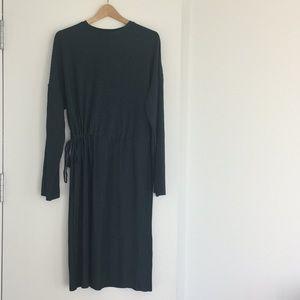 ZARA Green Pleated Midi Dress, Drawstring Waist, M
